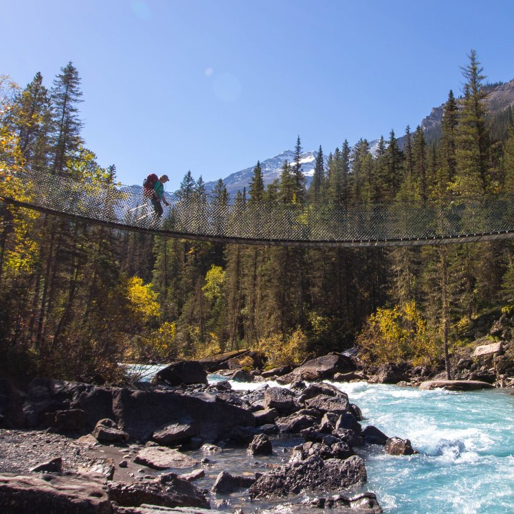Another hiker crossing the suspension bridge. Such amazing bridges and trails.