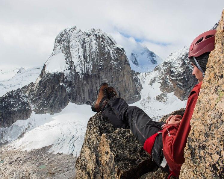 Wyatt enjoying the view and the reward of making the summit.